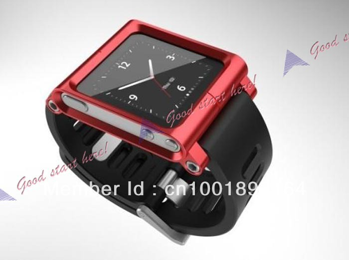 Drop Shipping Red Popular Watch Band Wrist Cover Case Blade Aluminum For iPod Nano 6 6th New AJ1258R(China (Mainland))
