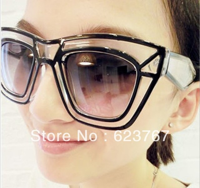 Free shipping 2013 designer beach lines of men and women Trendy transparent box sunglasses