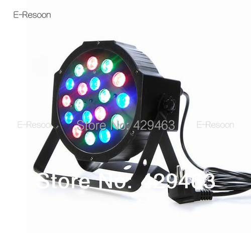 Гаджет  2014 Hot Sell 18*3W Led Stage Light High Power RGB With DMX512 Master-Slave Led Flat Par Light DJ Equipments,Free shipping None Свет и освещение