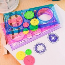 New Kids' Puzzle Colorful Drawing Ruler set/drawing-tool/Spirograph ruler/students' zakka DIY tools/Stationery Wholesale(China (Mainland))