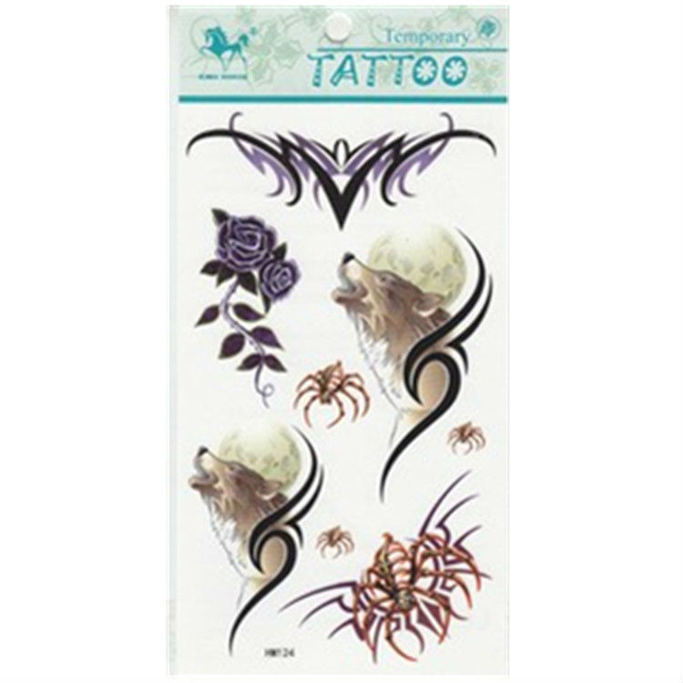 Free shipping! Pro instant waterproof temporary tattoo stickers wolf rose spider paint printed, last 5-7days, 3pcs/pack HM124(China (Mainland))
