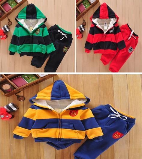 Hot Sale Winter Baby Clothing Set Striped Infant Suits