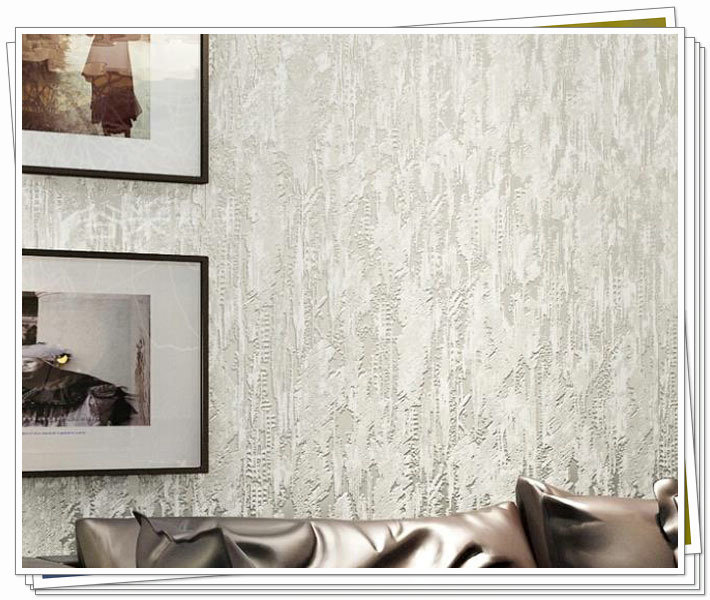 Cream white 3d flocking abstract embossed textured for Home 3d wallpaper wallcovering