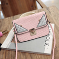 Hotsale lady woven bag women small Button shoulder bag fashion mini monster crossbody handbag bag female