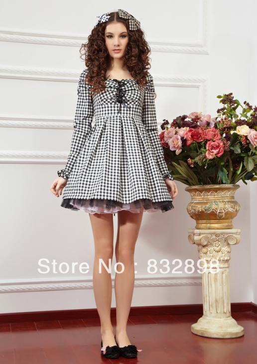 Black and White Grid Long Sleeve Casual Lolita DressesОдежда и ак�е��уары<br><br><br>Aliexpress