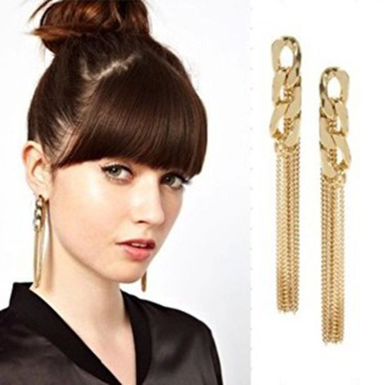 Retro Women Girl Long Chunky Chain Earrings Golden Tassel Ear Stud Penadan - $0.99 Super Fashion Market store