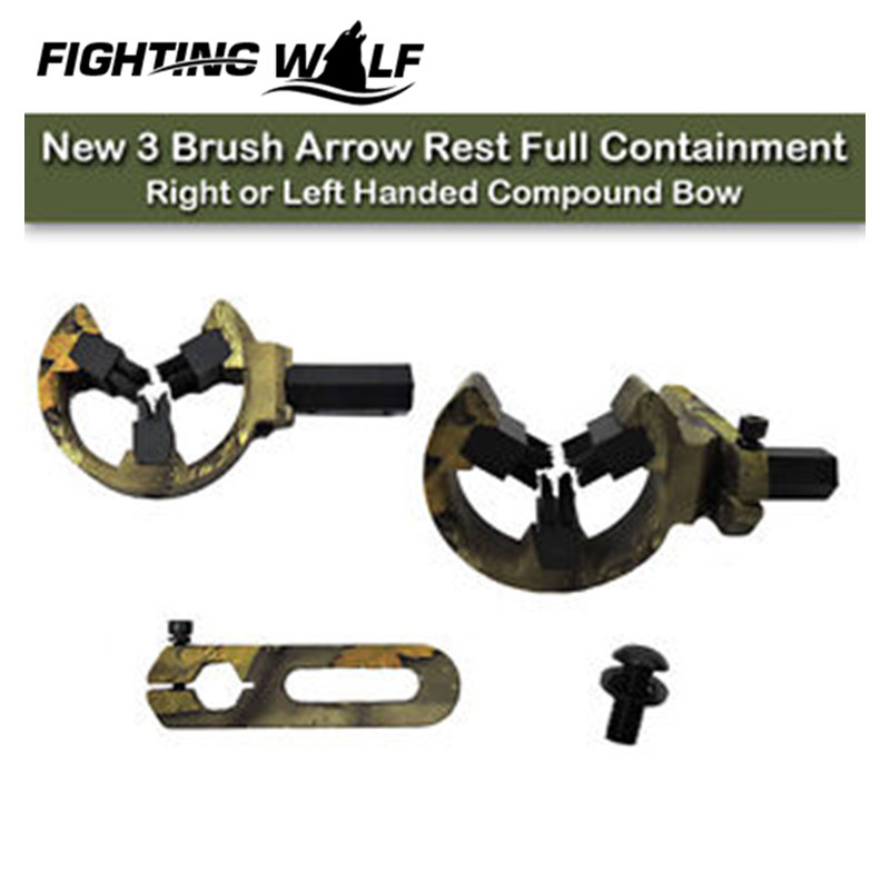 3 Brush Arrow Rest Full Containment Right or Left Handed Compound Bow Arrow Rest Recurve Bow