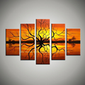 5 piece orange Large Abstract modern canvas wall picture african art landscape oil painting on canvas