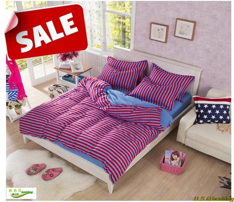 Purple Stripe Adult Kids Single Double Bedding Set King Queen Full Twin Size Comforter Sheet