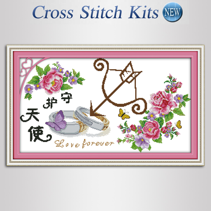 DIY Handmade Needlework Cross-Stitching Set Embroidery Kit Precise Printed Guardian angel,beautiful flower,Home Decoration,Free(China (Mainland))