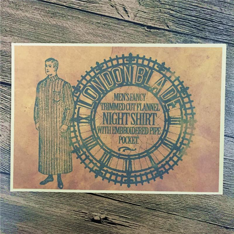 """Direct selling RMFC-116 home decor """"NIGHT SHIRT"""" cuadros decoratives painting vintage poster kraft paper for living room 42x30cm(China (Mainland))"""