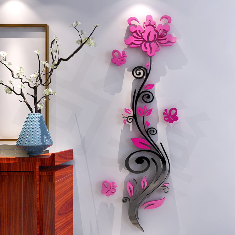 Rose flower acrylic three dimensional wall stickers modern for Stickers 3d pared