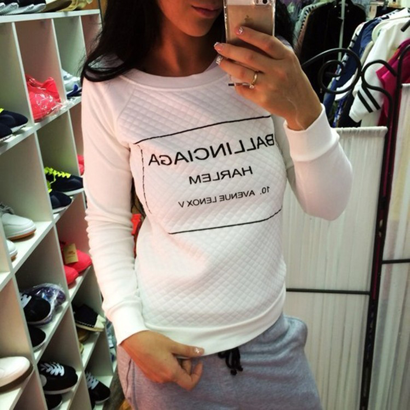S-XL White Black fashion Women Hoody Spring Autumn Long Sleeve Casual Sweatshirts Women Letter Print Hoodies Moleton Feminine