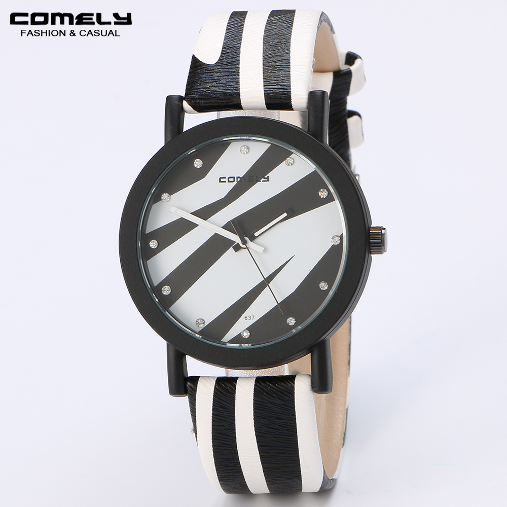 COMELY Zebra colorful leather strap quartz brand watches women fashion watch ladies small gift diamond casual sports watches(China (Mainland))