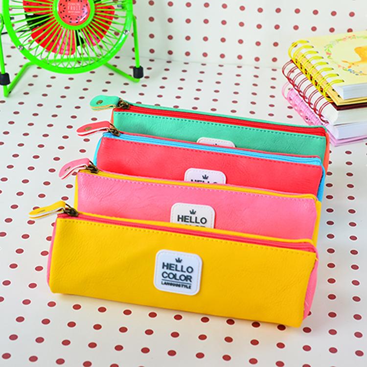 Jinbao Wen a wholesale fruit creative Macaron Blue Triangle Pencil large capacity pencil case PU student 5610<br><br>Aliexpress