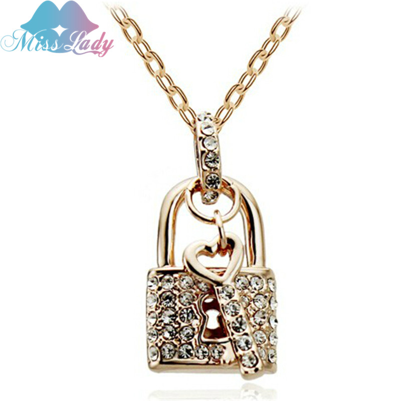 Miss Lady Rose White Gold Plated Crystal unique design Key Lock Pendants romantic love fashion necklaces women MLY4547 - Show store