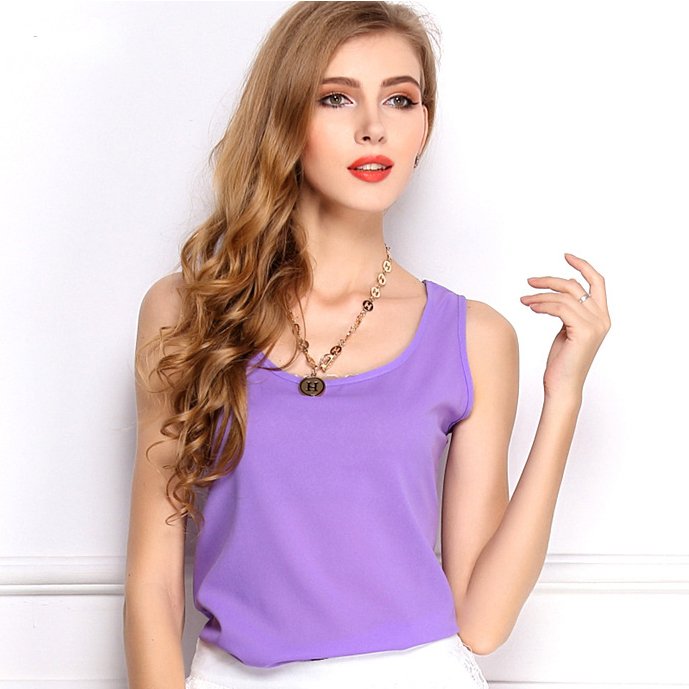 Limited Sale 2015 Summer Style Breathable Sport Basic Tops Sleeveless Chiffon Vest Women's Tank Tops Plus Size(China (Mainland))