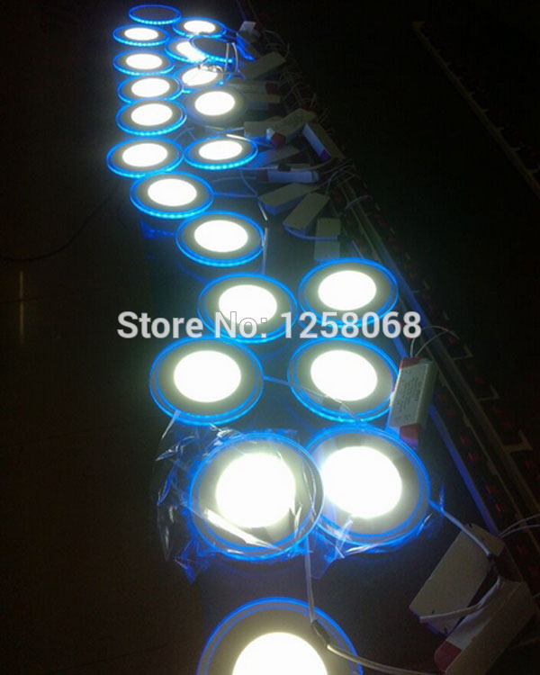 Round or square 20w NEW effect 3D panel light, 3825 Blue led + 2835 White led light panel, free shippig by fedex 10cs/lot(China (Mainland))