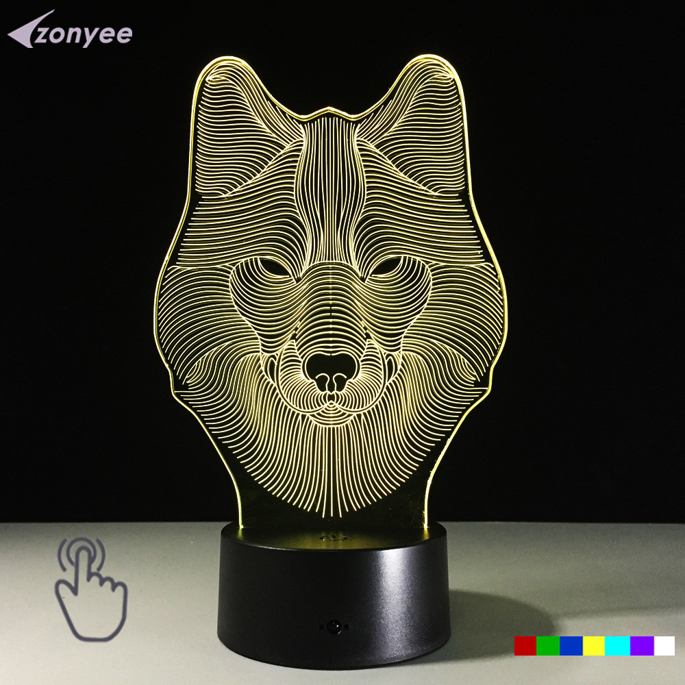 Novelty Touch Switch Desk Light Night Lights Colorful USB Table Acrylic Lamp 3D Illusion Wolf Face For Party Home Decor(China (Mainland))