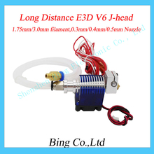 E3D V6 Long distance J-head Hotend for 1.75mm/3.0mm,0.3/0.4/0.5mm Nozzle Wade Extruder with Cooling fan for RepRap 3D Printer