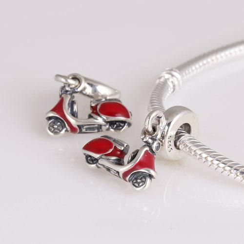 Аутентичные стерлингового серебра 925 бусины мотоцикл шаблон европейский женщины DIY подвески ювелирные изделия подходит для пандора оригинальный браслет