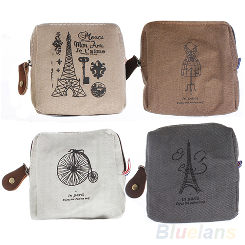 Women messenger bags Classic Retro Canvas Tower Purse Wallets Card Key Coin Bag Pouch Case 4