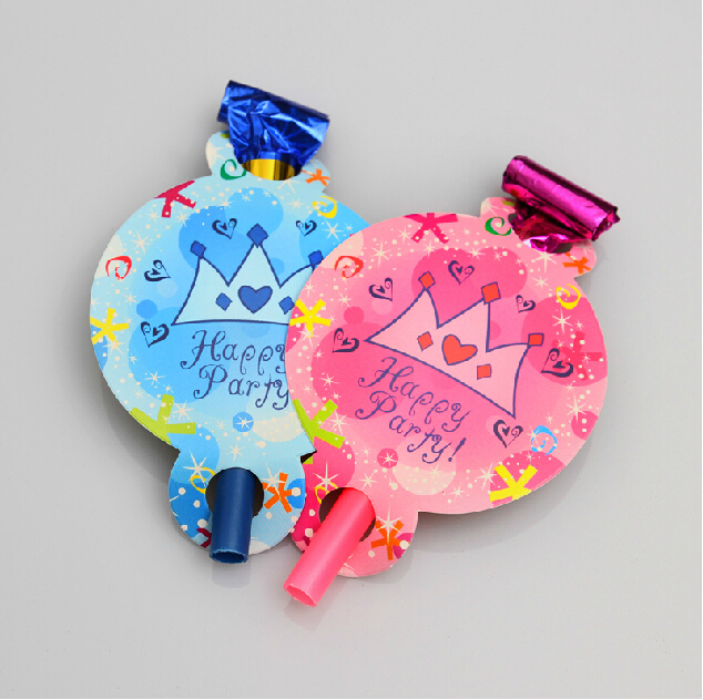 12pcs/lot can mix different color Birthday child roll whistle happy party themes noice maker 12pcs/lot blue or pink crown(China (Mainland))