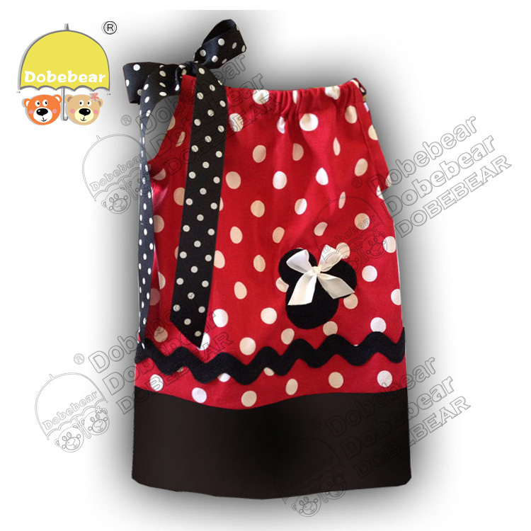 S/M/L 2014 new Fashion Baby Girls Pillowcase Dress Red Polka Dot Children's Chevron strip 2style - Yiwu Benice E-Business Firm store