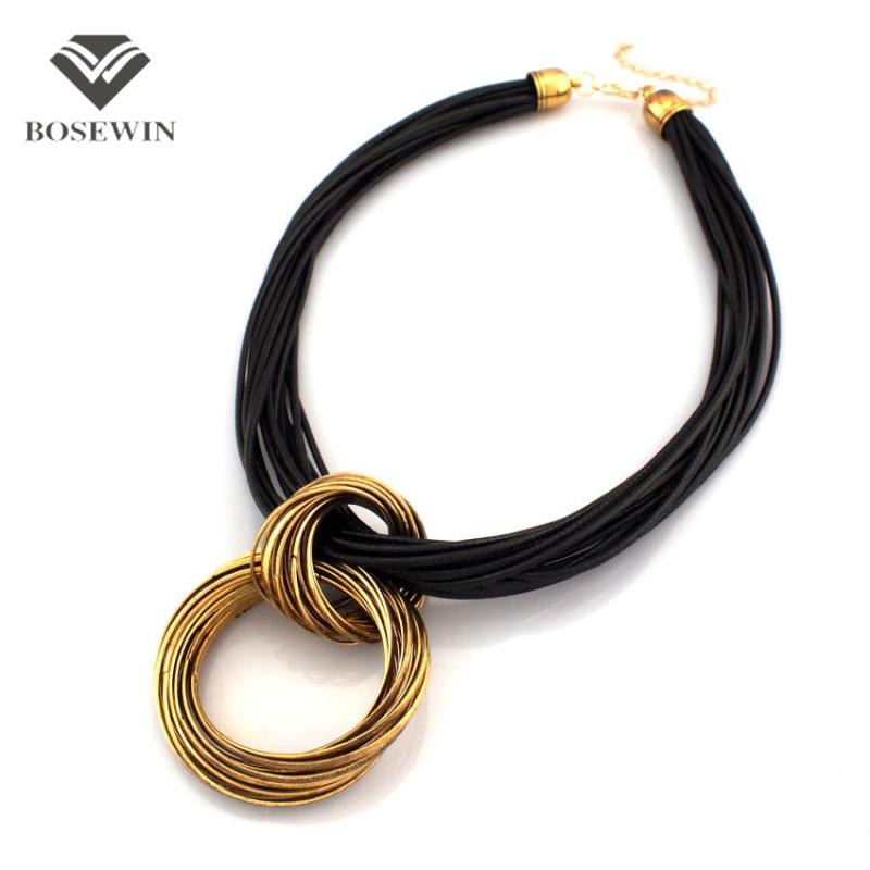 Cluster Vintage Cross Alloy Circle Pendant Lots Black Leather Chain Necklaces Accessories Fashion Jewelry Women CE1432 - Bosewin Enterprise Ltd. store