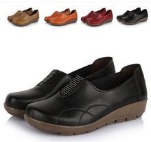 good quality new arrival 2015 women single shoes genuine leather mother work shoes soft bottom fashion brand shoes woman(China (Mainland))