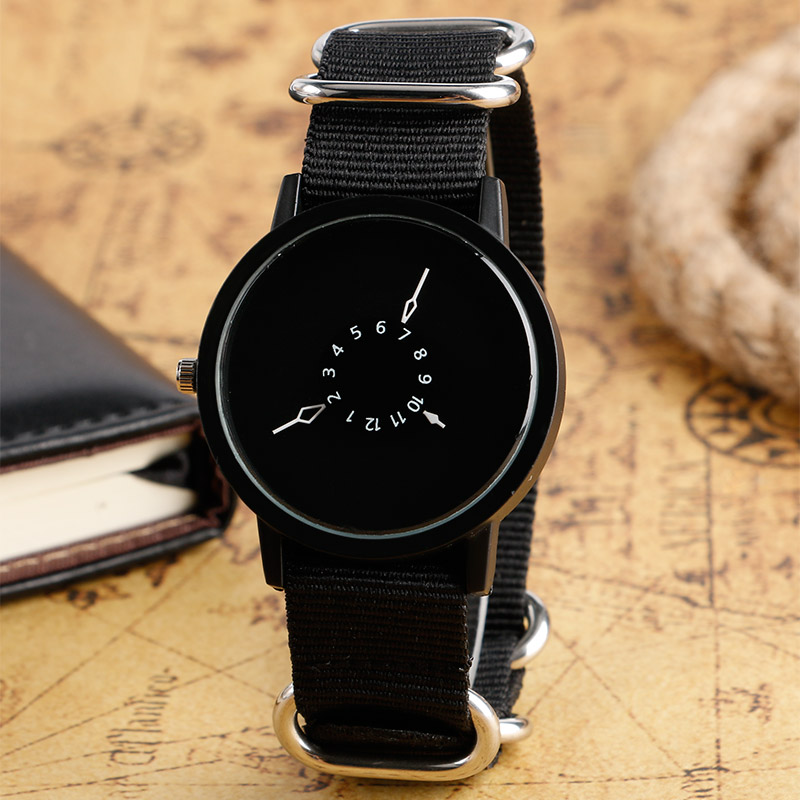 PAIDU 2017 Casual Round Dial Nylon Band Strap Wrist Watch Quartz Creative Turntable Clock 3 Style Available Relogio Masculion(China (Mainland))