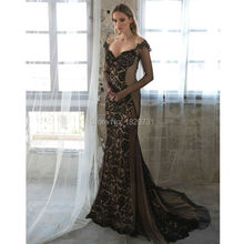 2017 Lace Evening Dresses With Sheer Long Sleeves Mermaid Off The Shoulder Backless Prom Gowns Tulle Long Formal Dress(China (Mainland))