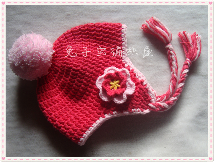 Autumn winter ! handmade knitted baby hat female child flower ear protector cap male - The sun hand weaving shop store