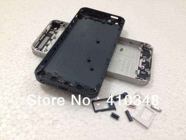 black white color Replacement part Full Housing Back Battery Cover Middle Frame Metal Back Housing For iphone 5 Free shipping(China (Mainland))