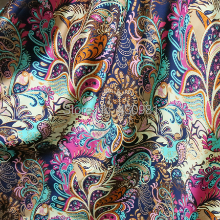 wholesale soft spandex satin fabric for sewing vintage flowers imitate silk material elastic stretch satin fabric print(China (Mainland))