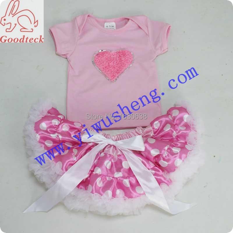 Pink Heart Short Sleeve T Shirt Polka Dots Pettiskirt Set Baby Girl Outfit Baby Clothing Set(China (Mainland))