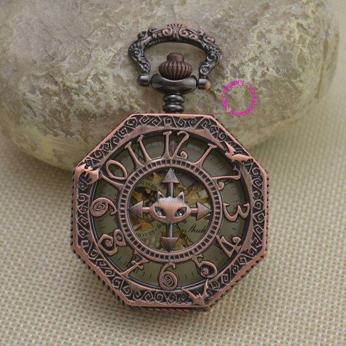 new red bronze retro vintage cat classic arabic number brass mechanical pocket watch fob watches with short waist chain(China (Mainland))