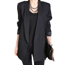 2016 Spring Autumn Korean Elegant Slim Blazer Jacket Ladies Mid-long Style Blazer Basic Jacket Double Breasted Office Coat SS469