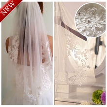 Real Photos 2015 Elegant White/Ivory Short Lace One Layer Wedding Bridal Veil Waist-length With Comb Wedding Accessories MD3091(China (Mainland))