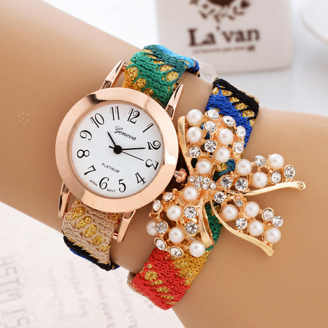 Тенденция дизайн, 2016 роскошные женщины часы браслет с бриллиантами домашний текстиль ткань досуг мода леди браслет женева кварцевые часы