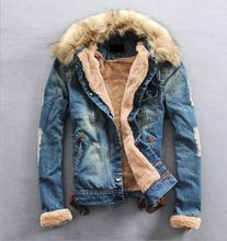 New Winter Men Clothing Jeans Coat Men Outwear Fur Collar Wool Denim Jacket Thick Warm Clothes mens womens Plus Size S-3XL(China (Mainland))