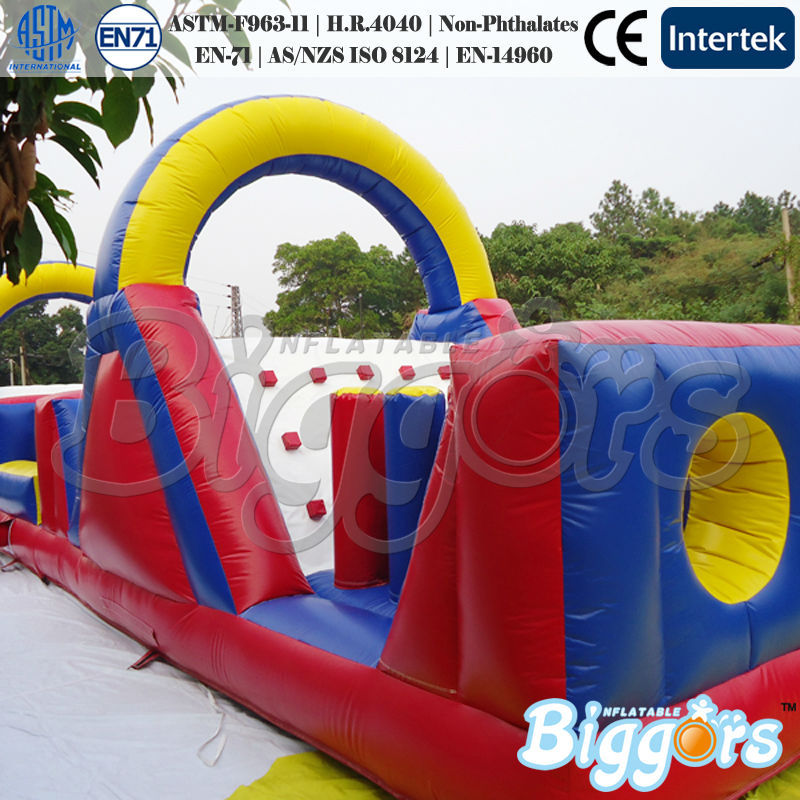 FREE SHIPPING BY SEA Large Outdoor Inflatable Obstacle Course With EN-71 For Interactive Games(China (Mainland))