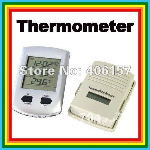 New Digital Wireless Indoor Outdoor Thermometer Clock, Free shippping + Retail Packing Box + Tracking #. 1267