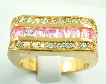 Free Shipping New Wholesale and retail Pretty pink Zircon ring in 14KT yellow Gilding Size 8