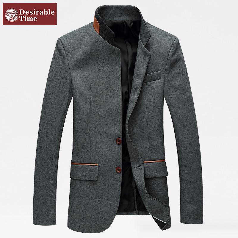 Mandarin Collar Blazer Men Grey Single Breasted Casual Wedding Men Slim Fit Blazer Jacket Korean Style Asian Size M-6XL A0018(China (Mainland))