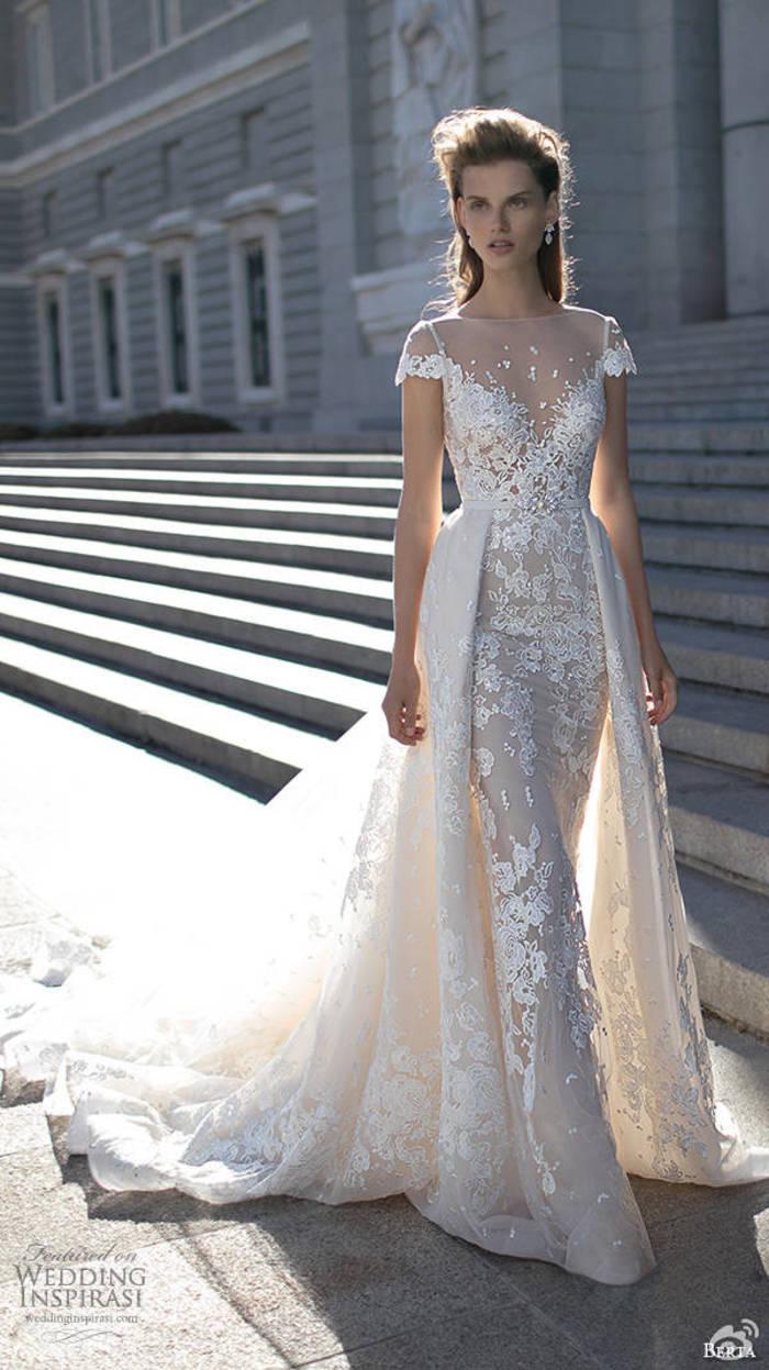 New sheath wedding dresses sheer boat neck cap short for Sheath wedding dress with cap sleeves