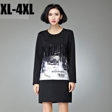 Free ship 2015 plus size Women clothing autumn winter dress tassel digital printed dress long-sleeve O neck vestidos XXXXL3260