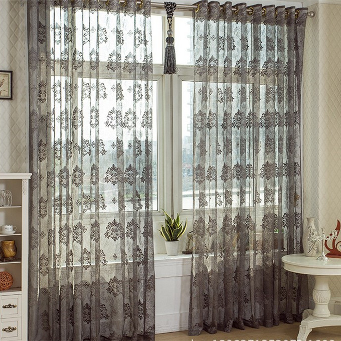 Fashion Cutout Dark Color Bay Window Curtain Gray Floor Window Transparent Voile Tulle Sheer