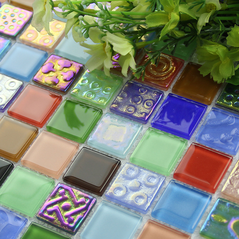 Iridescent symphony electroplating blue crystal glass mosaic tile for kitchen backsplash decoration tiles HMGM1143<br><br>Aliexpress