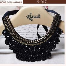 For Women,Fashion.Beautiful Gold Flowers Star Necklace Black Ribbon,Black False Collar Necklace Women Fashion Clothing Accessory(China (Mainland))